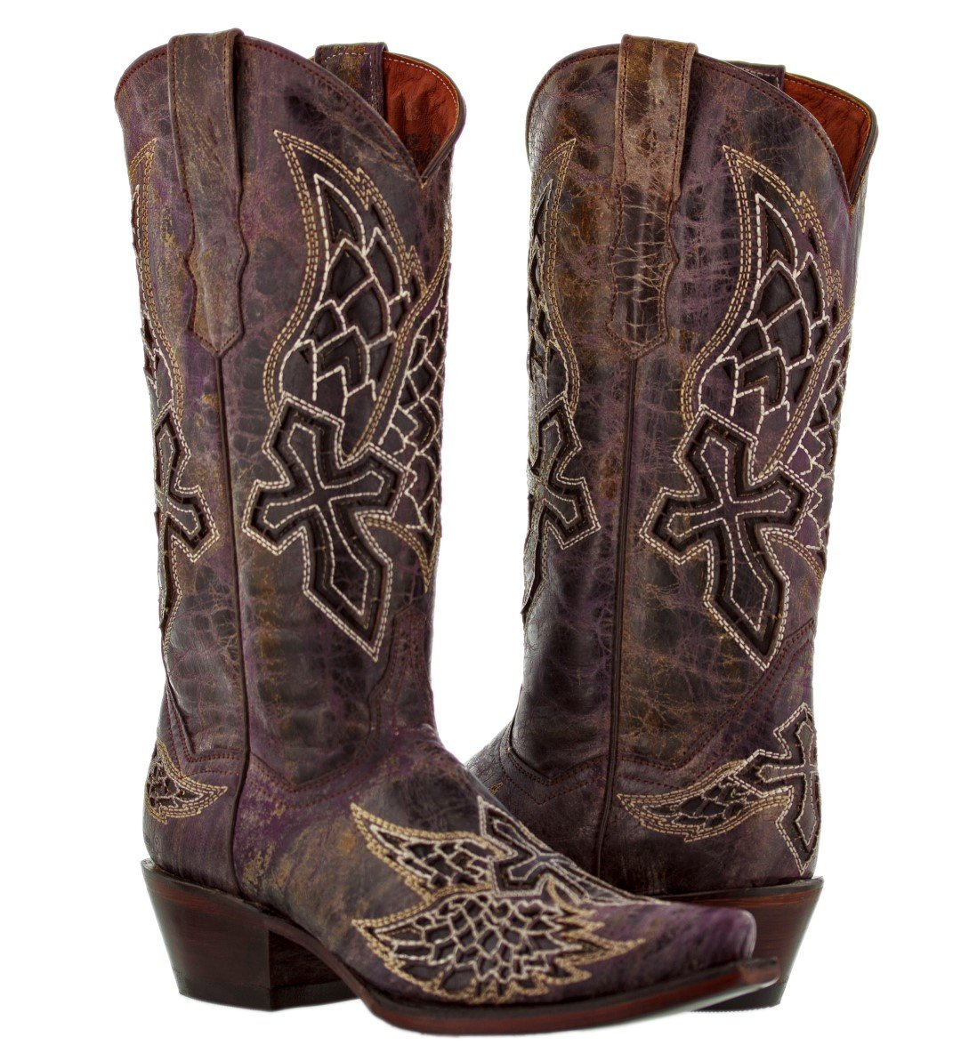 Cowboy Professional Women's Purple Wings & Cross 2 Cowboy Boot Snip Toe 11 BM