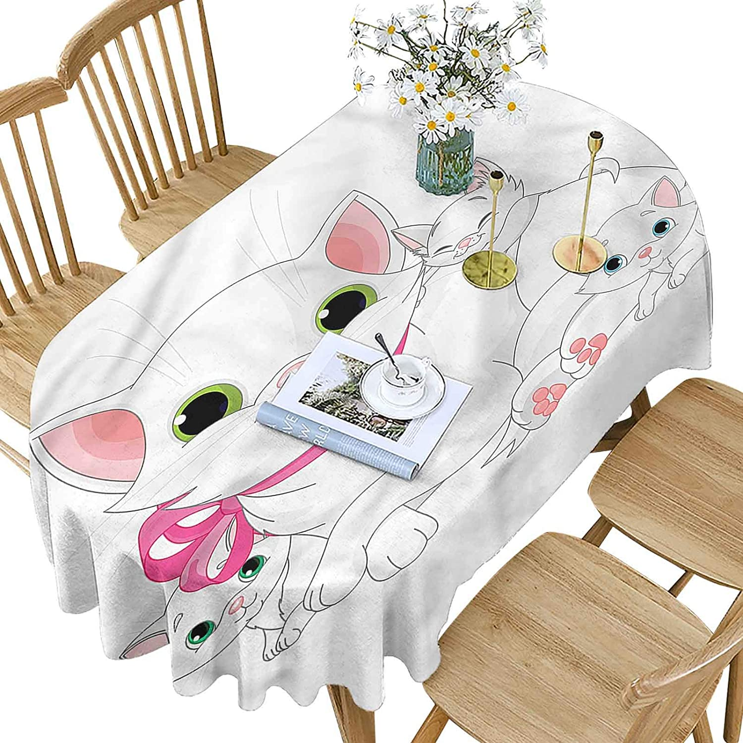 Cat Polyester Oval Tablecloth,Happy Family Smiling Together Pattern Printed Washable Table Cloth Cover for Oval Table,60x84 Inch Oval,for Dining, Kitchen, Wedding, Parties