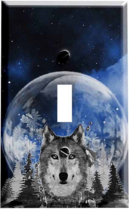 Amazon Com Gotham Decor Switch Plate Single Toggle Wolf Snow Moon Light Switch Cover Garden Outdoor