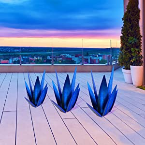 YASUOA Tequila Rustic Sculpture, DIY Rustic Agave Plant Metal Yard Art Sculpture Lawn Home Ornaments, for Garden Figurines, Outdoor Patio (Blue)