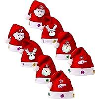 8 Piezas de Sombrero de Navidad Gorra de Terciopelo de LED Luz Sombrero de Patrón de Papá Noel Reno Monigote de Nieve Oso Favores de Fiesta para Adultos y Niños (Talla de Adulto)