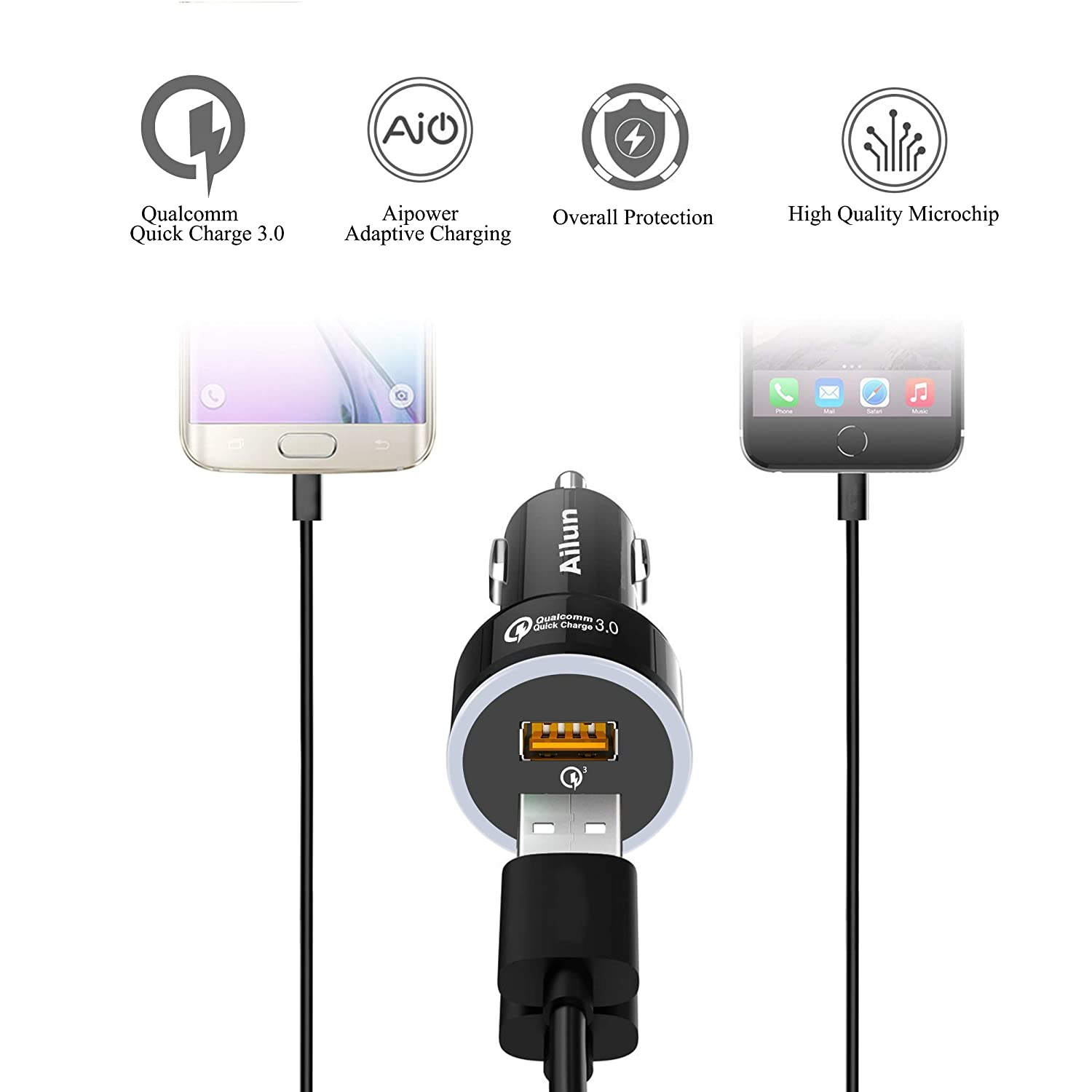 Qualcomm Quick Change 3.0 Adapter, Motorola 2Pack Black Ailun Fast Car Charger Dual USB Port 35W,for Mobile Device,Compatible iPhoneX//Xs//XR//Xs Max//8//7,8//7Plus,6//6s//6s Plus,Galaxy S9 S9+ S8 S7 Siania 4351486130