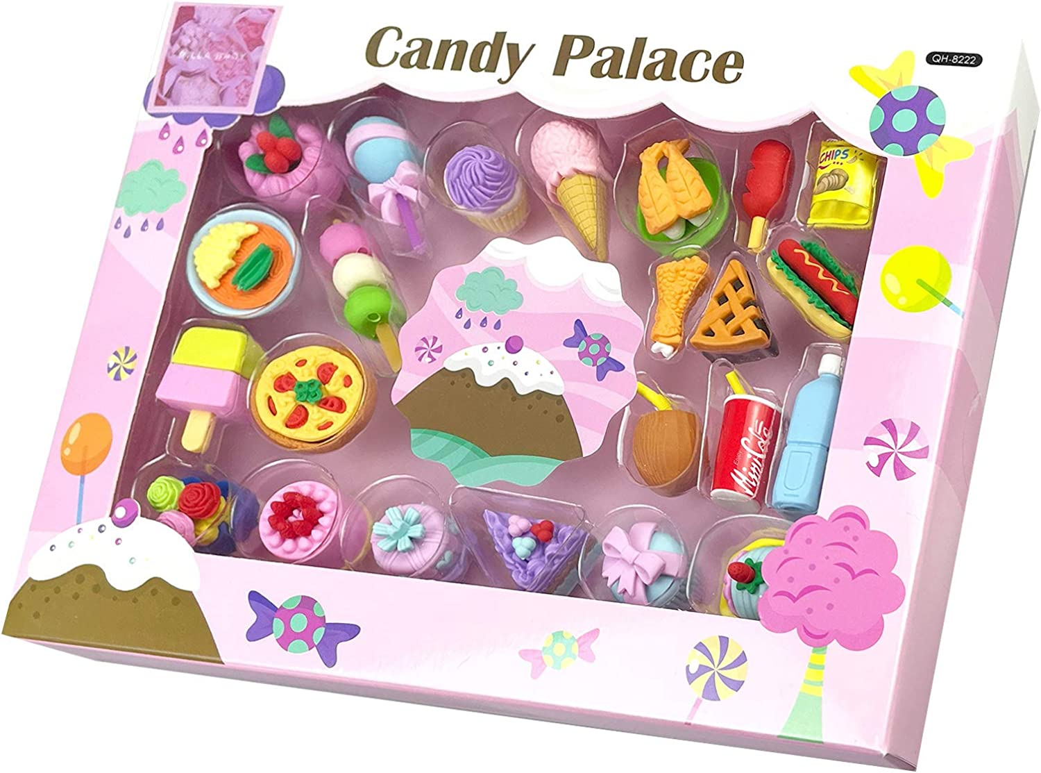 Rillla Mini Puzzle Cool Food Erasers for Kids, Tiny Fun Cute Ice Cream Cake Erasers Scented Pencil Iwako Erasers, Prizes for Kids Classroom Home Party School Gifts Box for Students (Candy Palace)