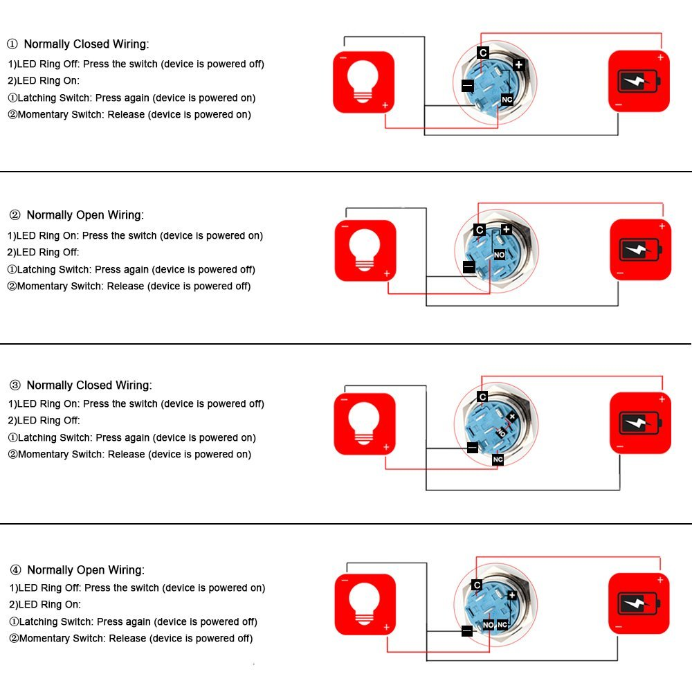 SENZEAL Momentary Push Button Switch Stainless Steel 12V Push Switch Angel Eye On Off LED Ring 4 Ways Connector Wiring with Socket Plug Power Symbol 19mm 0.75Inch Red
