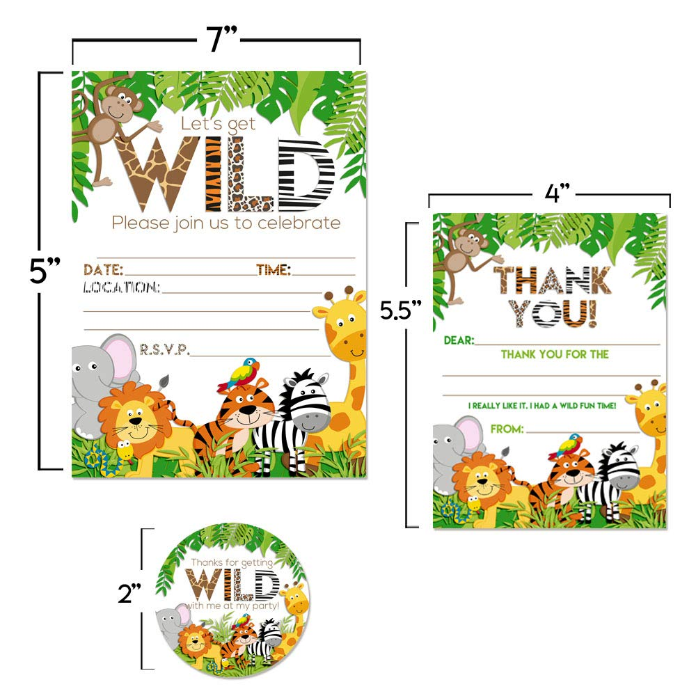 Deluxe Jungle Animal Birthday Party Bundle Includes 20 Each Of 5x7 Fill In Invitation Cards Thank You Favor Stickers And