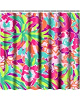 Bathroom Shower Curtain Sets With 12 Hooks,Lilly Pulitzer Art Shower  Curtains,Polyester Fabric