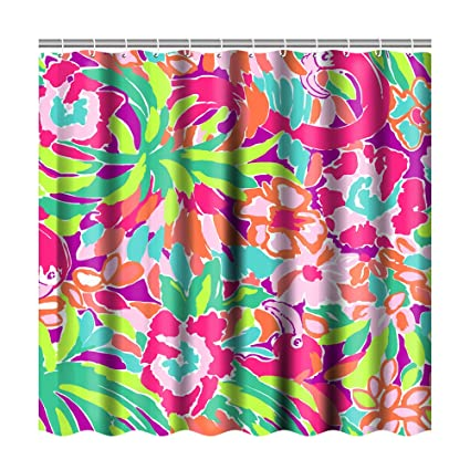 Bathroom Shower Curtain Sets With 12 HooksLilly Pulitzer Art CurtainsPolyester Fabric