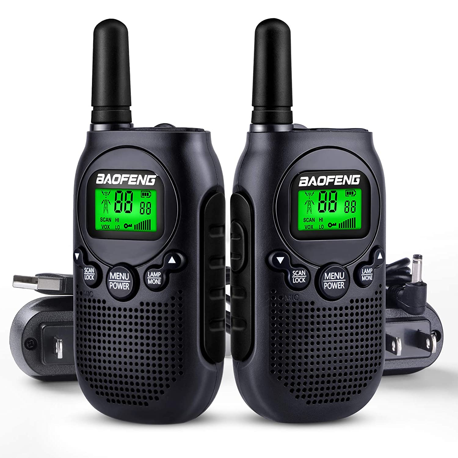 1 Pair Yellow Baofeng BF-T6 Kids Walkie Talkies Long Range Mini 2 Way Radios for Boys Girls Children Frquency 22 Channels USB//AC Wall Charger Rechargeable