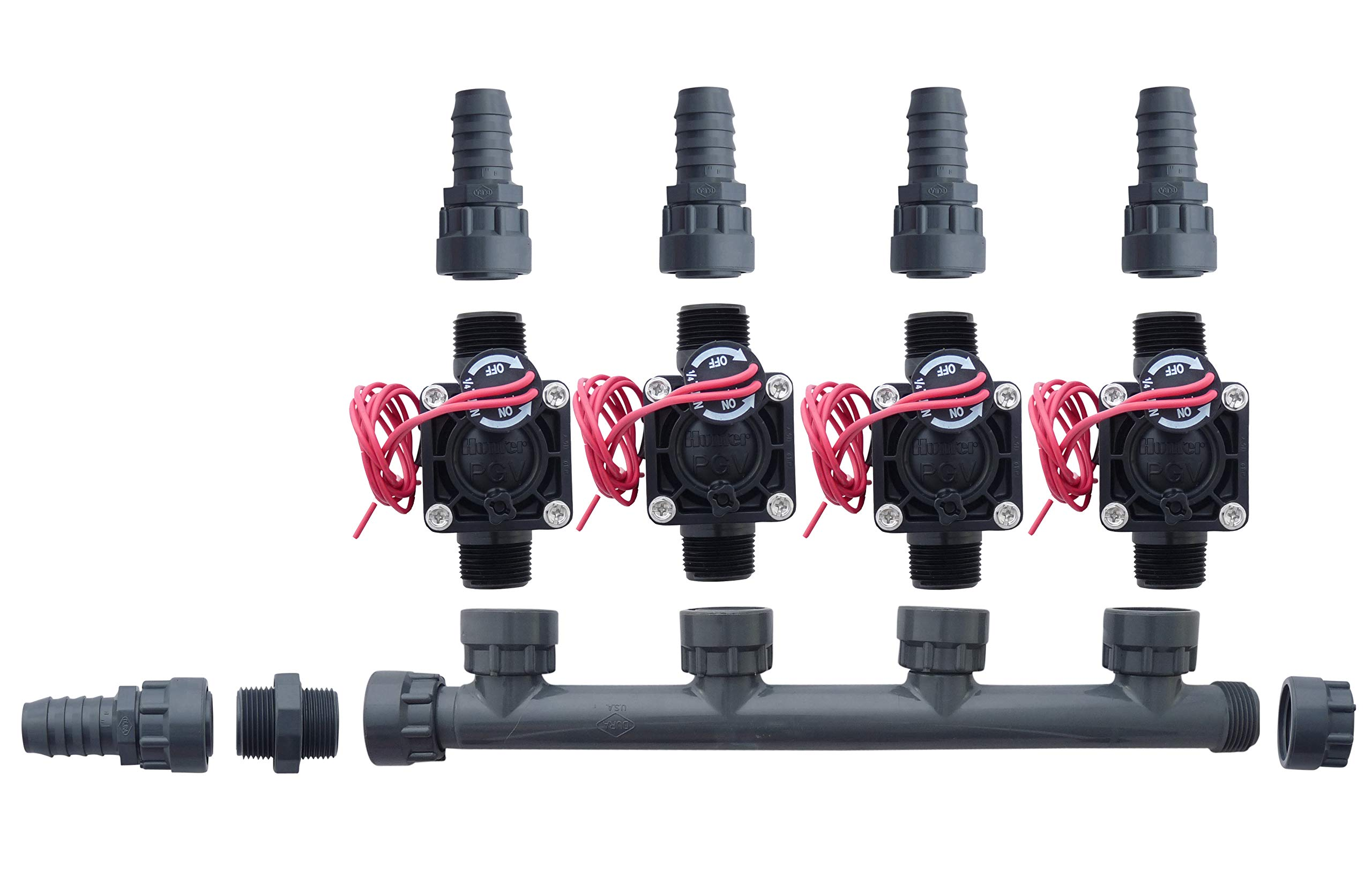 Hunter PGV100-MM 4 Zone Dura Manifold Valve Kit Without Flow Control - Barb PGV100MM (4 Zone)