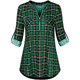 JIANGfu Womens Plaid Print Rolled Sleeve Tunic T-Shirt Ladies Casual Autumn Winter Zipped V-Neck Long Sleeve Top Blouse Shirt