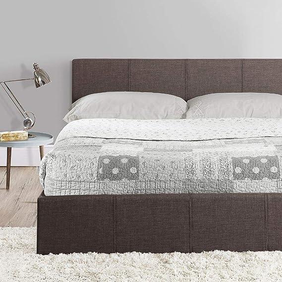 Happy Beds Berlin Cama otomana de tela gris, moderna, colchones, de almacenamiento, dormitorio, Gris, 4FT - Orthopaedic Mattress: Amazon.es: Hogar