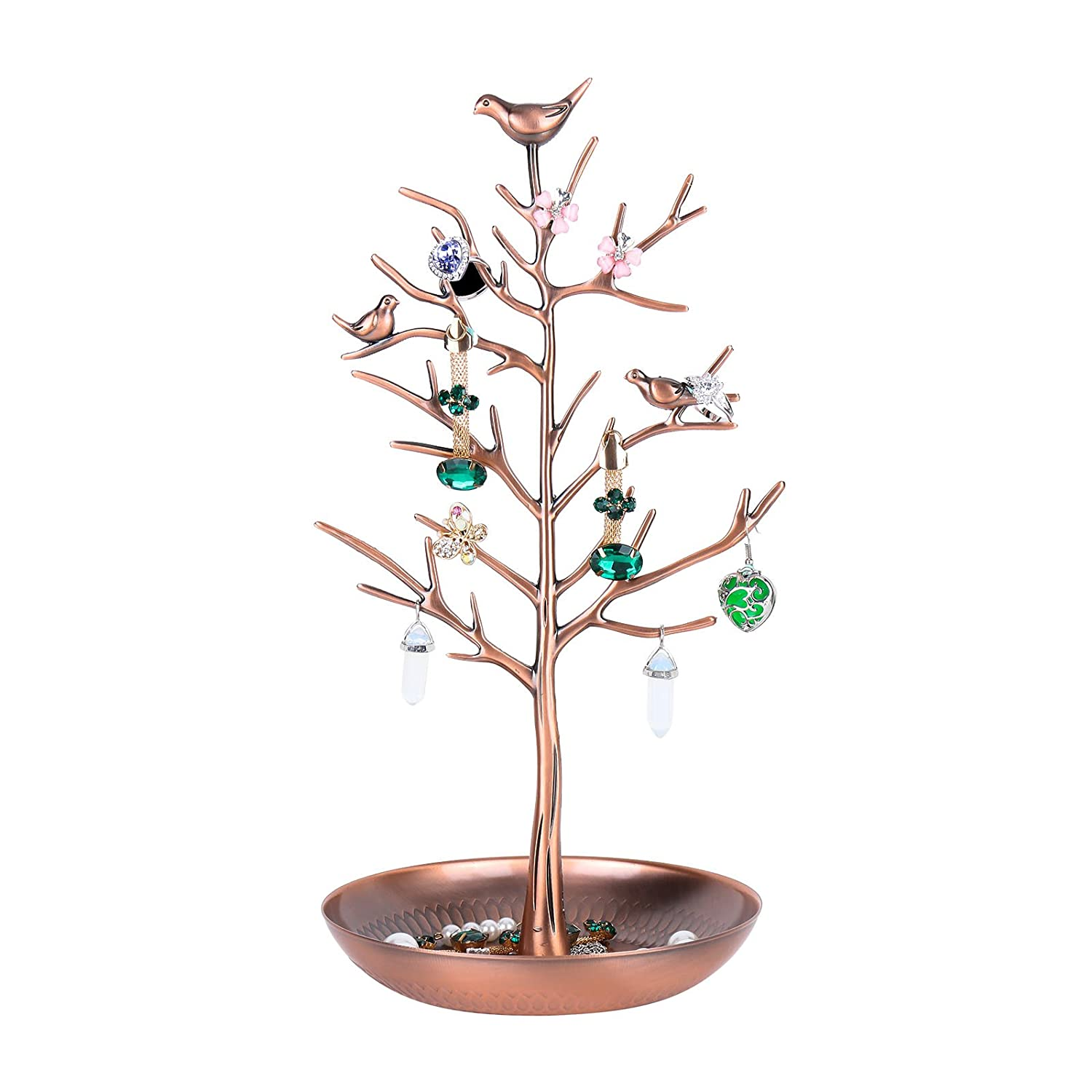 Jewellery Stand,Meshela Antique Vintage Birds Tree Branch Earring Necklace Holders