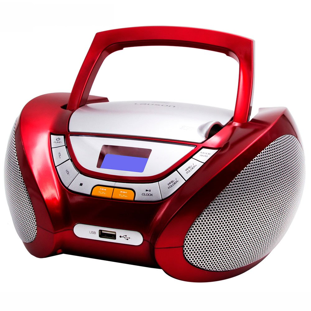 Lauson Boombox whit Cd Player Mp3 | Portable Radio CD-player Stereo with USB | Usb & MP3 Player | Headphone Jack (3.5mm) CP542 (Red)