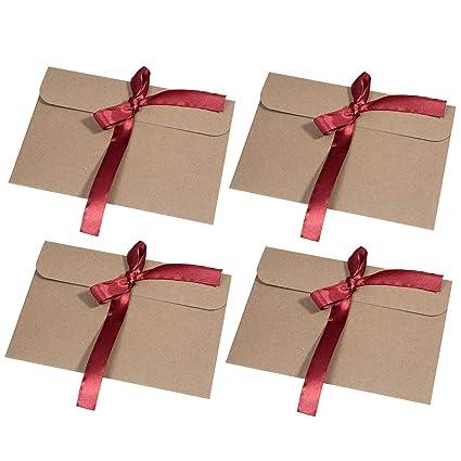 30 Piezas Vintage Kraft Cinta Sobres Mooklin Regalo Sobres De Tarjeta De Boda Fiesta Oficina Tamaño 17 2 X 12 5 Cm Cinta Roja