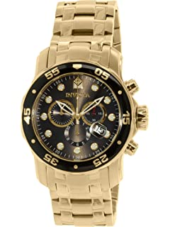 Invicta Mens 80064 Pro Diver Chronograph Charcoal Dial 18k Gold Ion-Plated Stainless Steel Watch