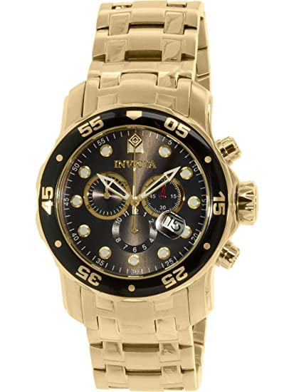 Amazon.com: Invicta Mens 80064 Pro Diver Chronograph Charcoal Dial 18k Gold Ion-Plated Stainless Steel Watch: Invicta: Watches