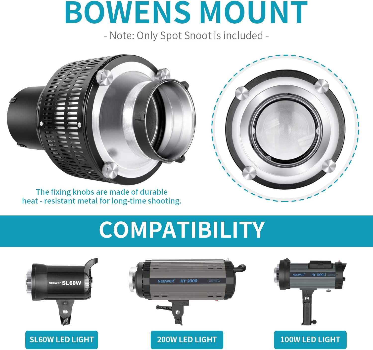 Neewer Aluminium Alloy Studio Conical Spot Snoot with Bowens Mount for Monolight Photography LED Light SL-60W SL-150W 200W etc 5 Color Filters and 9 Graphics Cards Included for Spotlight Effect