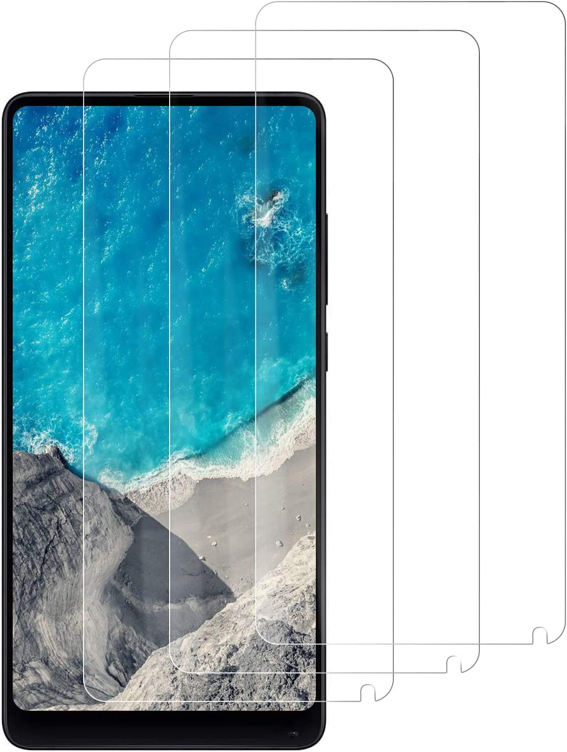 PUUDUU Protector de Pantalla para Xiaomi Mi Mix 2, [3 Pack] Cristal Templado para Xiaomi Mi Mix 2, Vidrio Templado, Sin Burbujas, Anti-Rasguños, HD Transparente