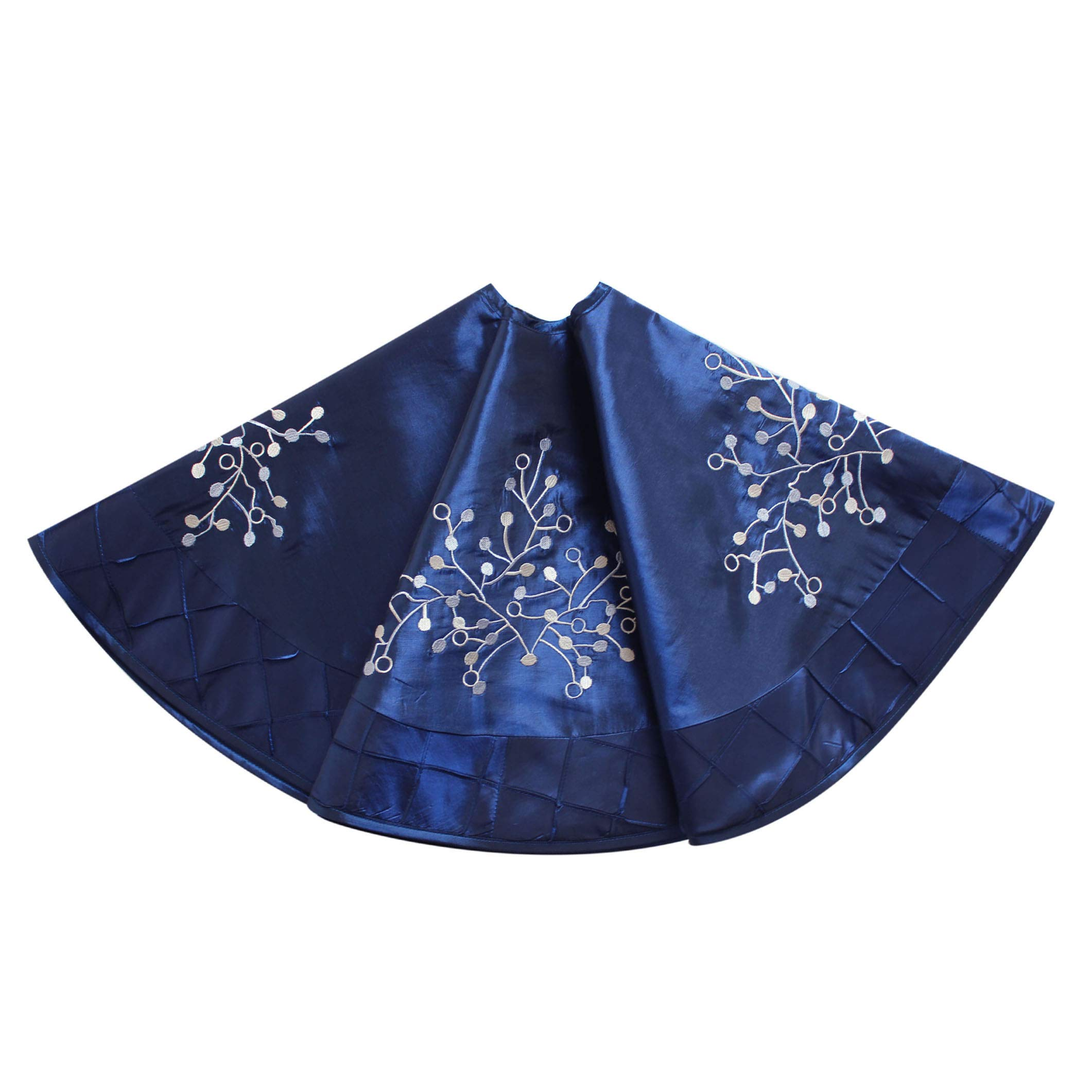 Gireshome 50'' Blue Faux Silk Deluxe Embroidered Berry Handcraft Pintuck Border Christmas Tree Skirt Christmas Decoration