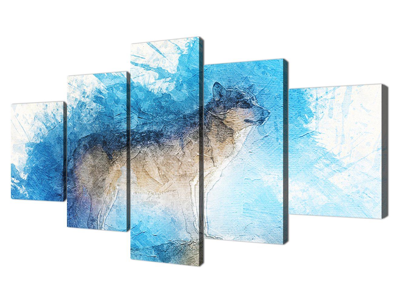 Yatsen Bridge Colorful Animal Painting On Canvas Prints and Poster Wolf Pictures Wall Art for Living room Home Decor Bedroom Wall Decoration Gifts Stretched By Wood Ready To Hang (60x32inch)