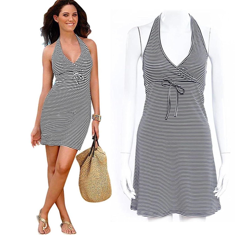 Frauen Kleid,Xinan Frauen-Sommer-Boho-Streifen Maxi Abend-Partei-Kleid-Strand-Kleid Sundress