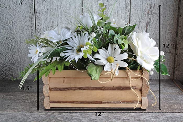 Rustic Wooden Centerpiece Harmoniously Garnished With Flowers And