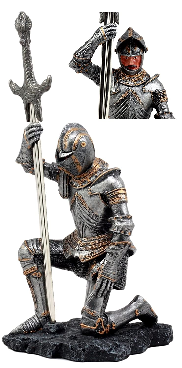 Ebros The Accolade Kneeling Medieval Knight With Excalibur Sword Letter Opener Figurine 10H Ebros Gift