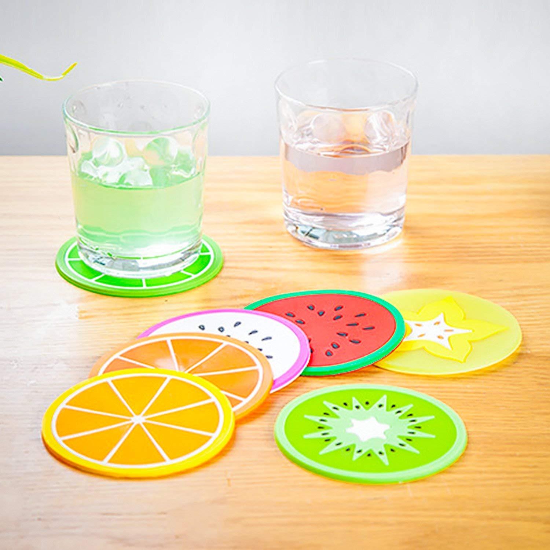 Sottobicchieri per frutta 7 pezzi 8,9 cm per evitare mobili e tavoli antiscivolo colorati per bevande in silicone isolamento termico