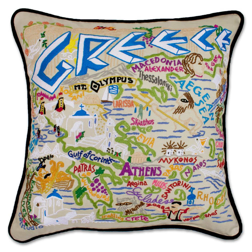 Catstudio Greece Hand Embroidered Pillow