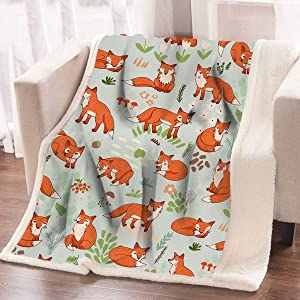 ARIGHTEX Soft Fox Sherpa Throw Woodland Creature Fleece Blanket Orange Animal Print Warm Blanket for Kids (50 x 60 Inches)