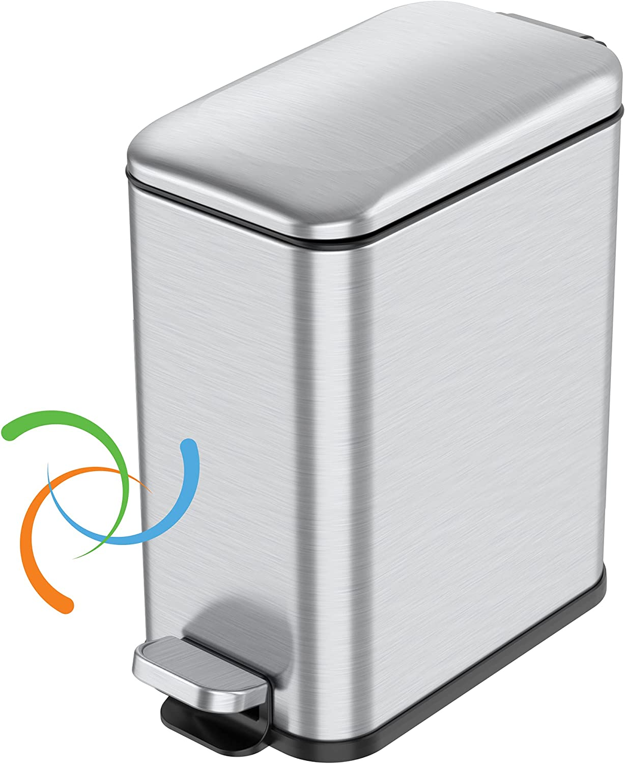 iTouchless SoftStep 1.3 Gallon Slim Bathroom Trash Can with Odor Filter and Removable Inner Bucket, Stainless Steel, 5 Liter Small Garbage Step Bin, Bathroom, Bedroom, Business, Home, Office Cubicle