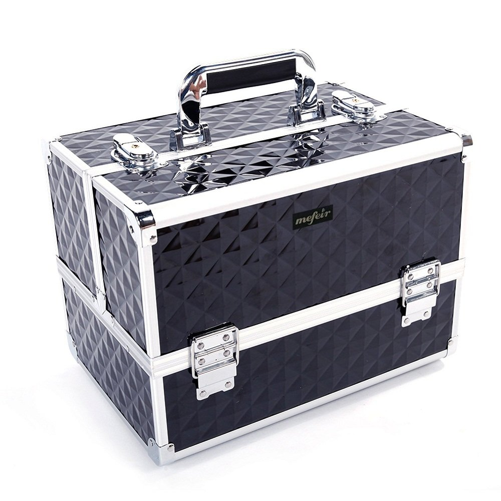 Mefeir Makeup Train Case 12.6''L w/Adjustable Dividers, 4 Trays and 2 Locks Black,Professional Travel Beauty Cosmetic Trolley Box,Birthday Valentine's Mother's Day Gift (Black)