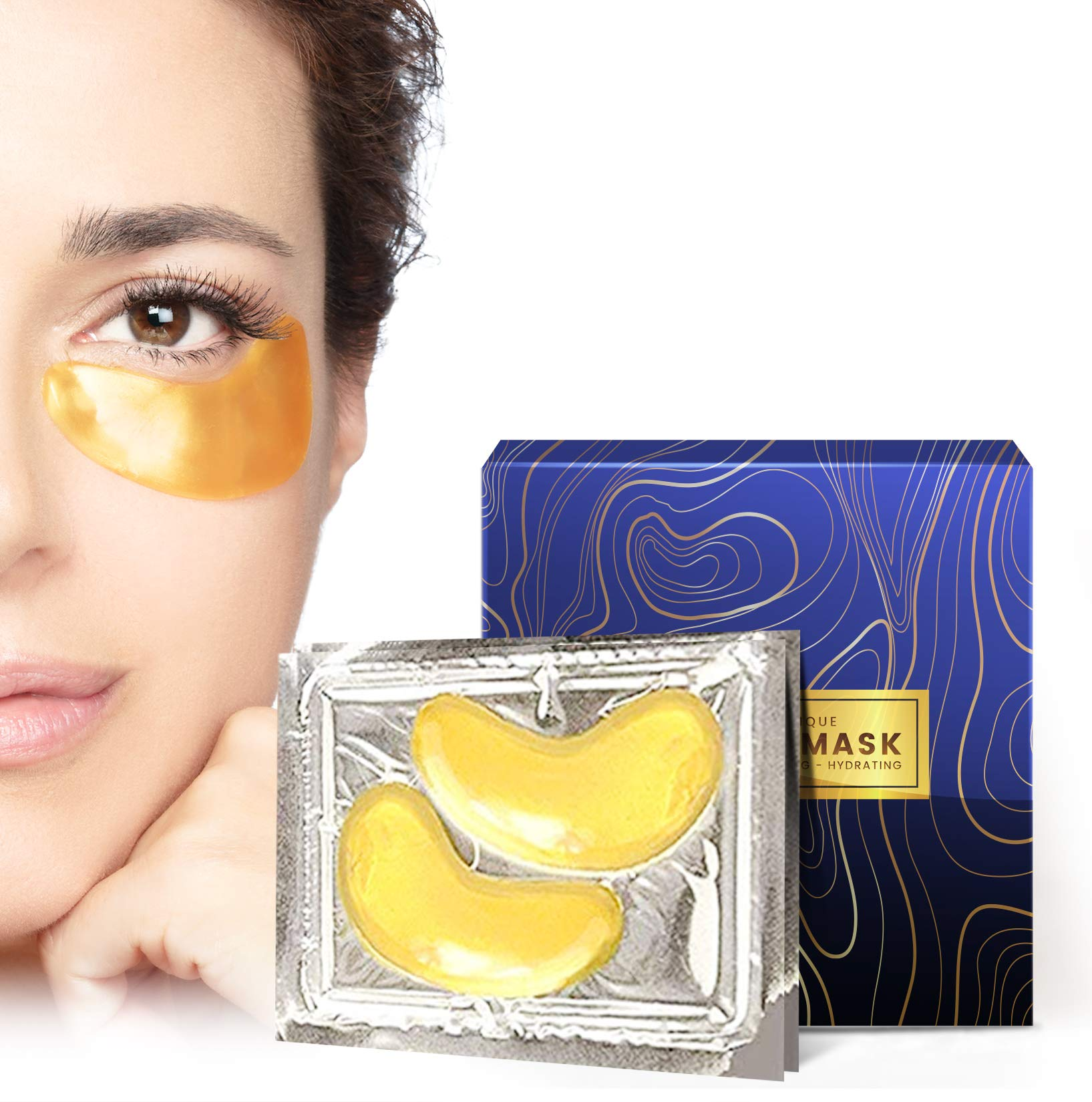 24K Gold Collagen Under Eye Patches - Dark Circles Eye Bags Puffy Eyes Treatment Mask - USA Technology Formula Upgraded Pure Natural Ingredients Extract - 15 Pairs by roselynboutique