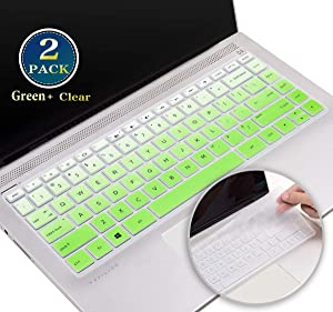 Keyboard Cover Skin for 2020 2019 New HP Stream 14-ds 14-dg Series, HP Pavilion x360 14 Inch Keyboard Cover 14M-BA 14M-CD 14-BF 14-BW 14-cm 14-CF Series Protective Skin(Green+Clear)