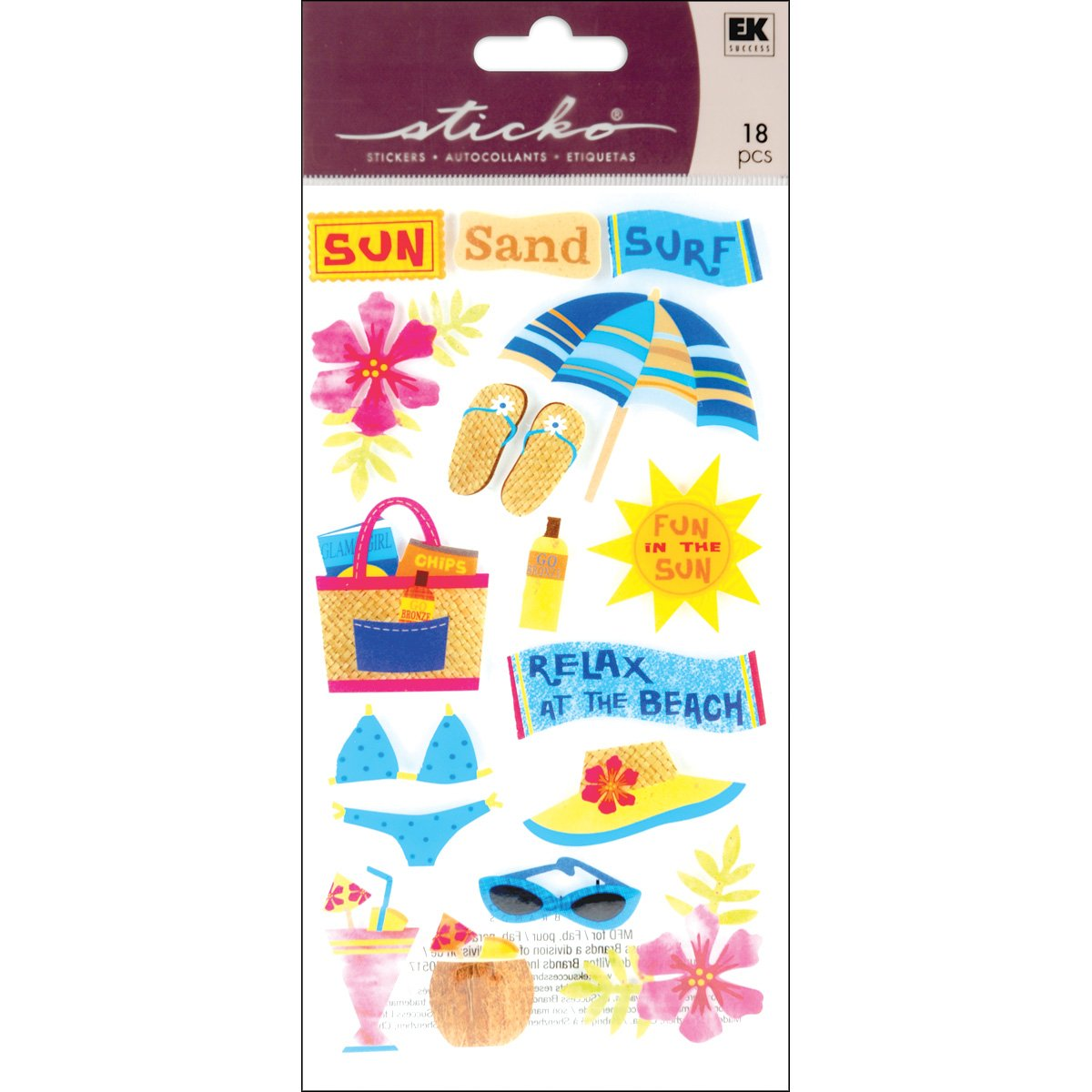 Sticko Sun, Surf, Sand Stickers