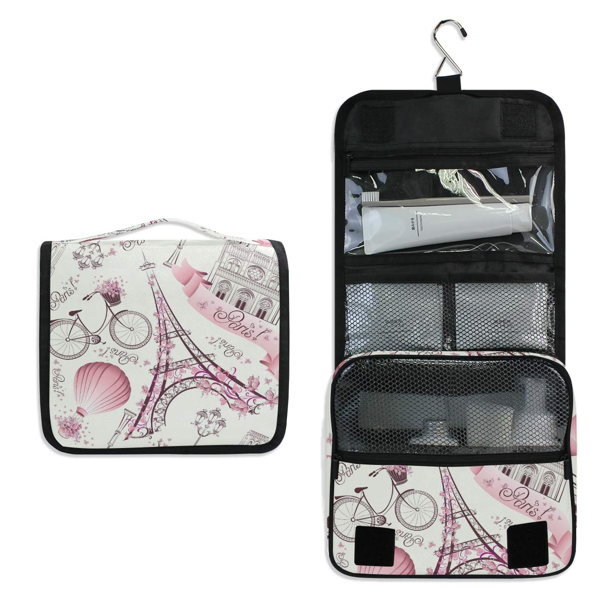 KUWT Hanging Toiletry Bag Paris Eiffel Tower Flower Cosmetic Travel Bag Portable Makeup Organizer for Cosmetics, Toiletries and Travel Accessories