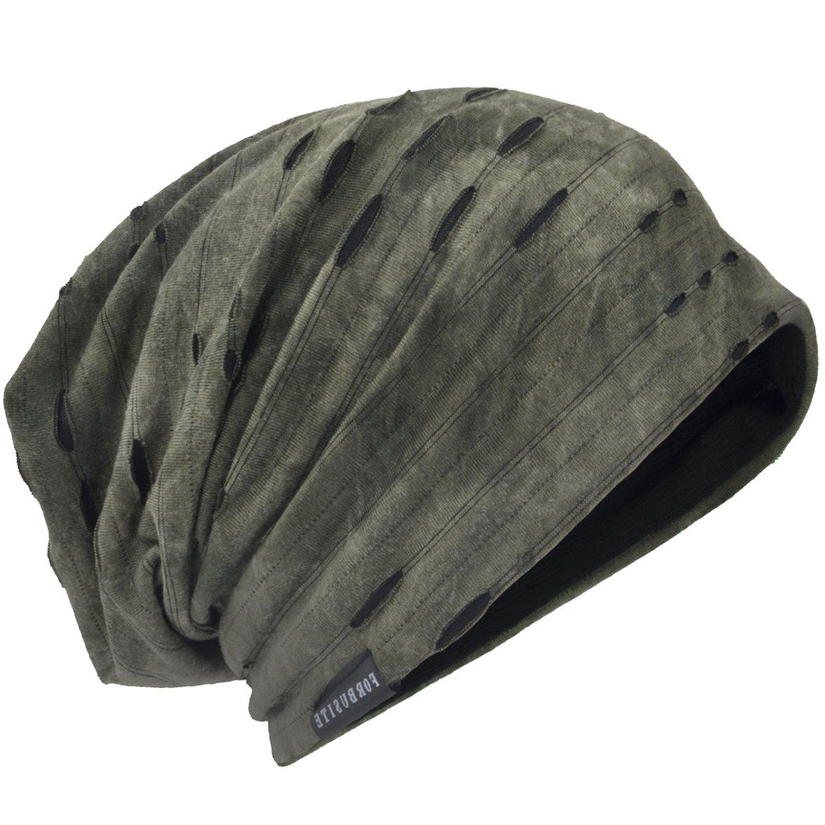 Mens Slouch Hollow Beanie Summer Skullcap B090 (C-Green, Thin Cool)