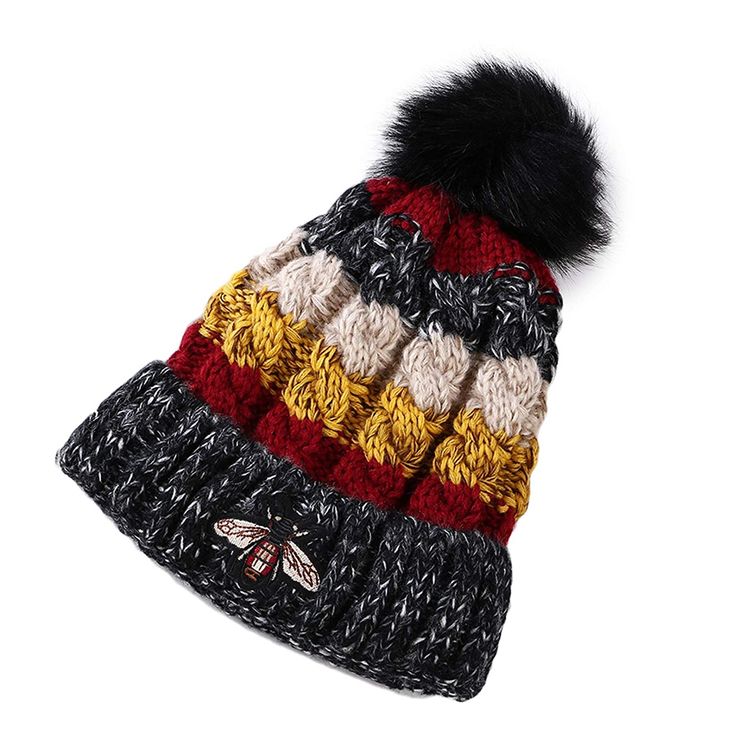 Vic Gray Women Warm Knitted Beanies with Pom Pom Cute Soft Fur Stretchy Winter Skullies Hats for Girls