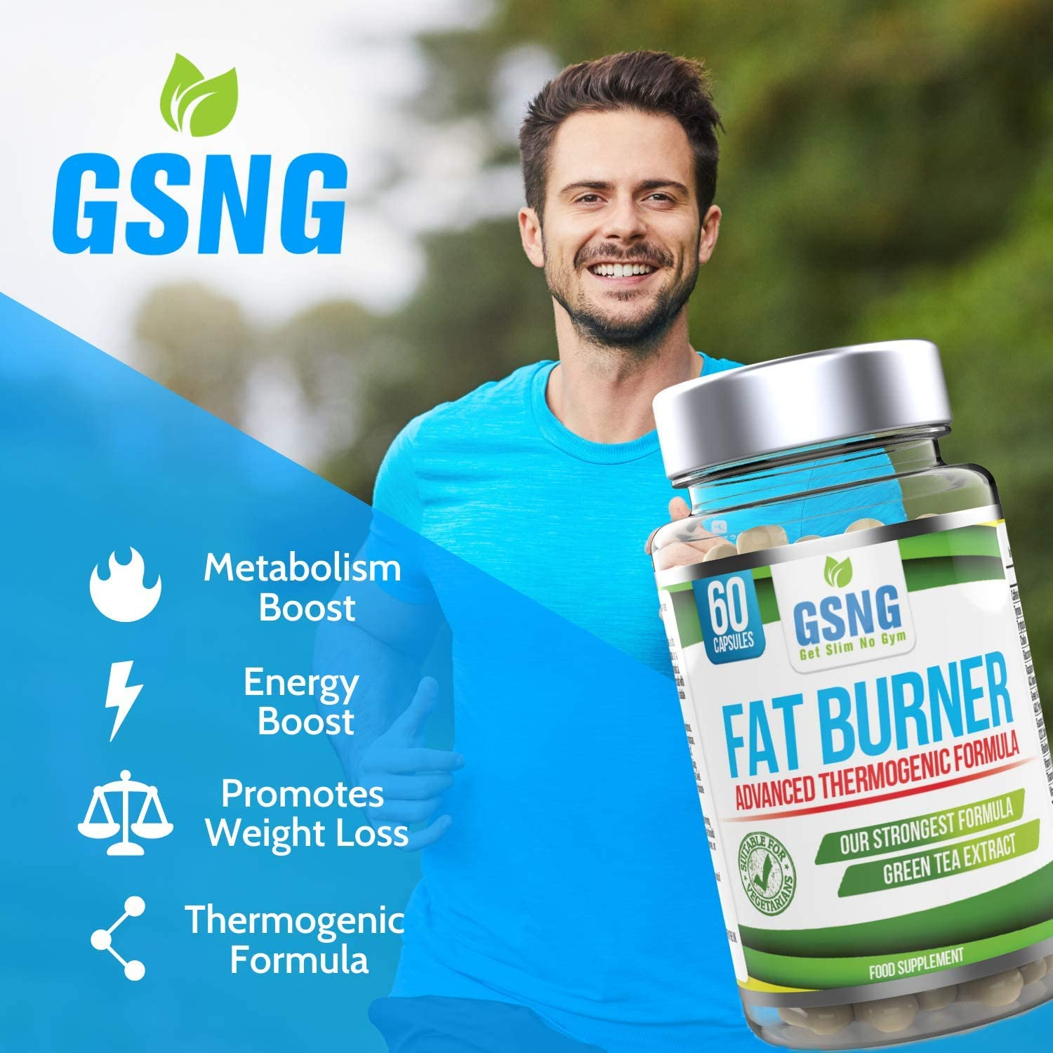 Fat Burner Weight Loss Pills aE Metabolism Support Appetite Suppressant - Green Tea Extract Lean Slimming Diet Supplement for Men Women - Premium UK Manufacture aE 60 Vegetarian Capsules - GSNG