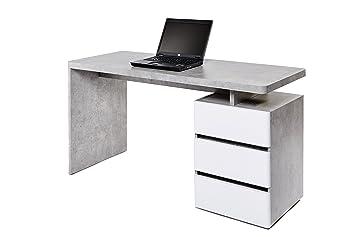 Movian bureau à 3 tiroirs blanc béton: amazon.fr: cuisine & maison