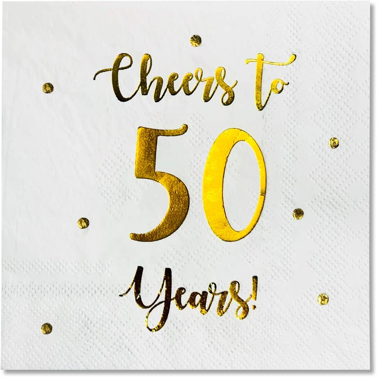 Cheers To 50 Years Cocktail Napkins Happy 50th Birthday Decorations For Men And Women And Wedding Anniversary Party Decorations 50 Pack 3 Ply Napkins 5 X 5 Inch Folded White Cocktail Napkins