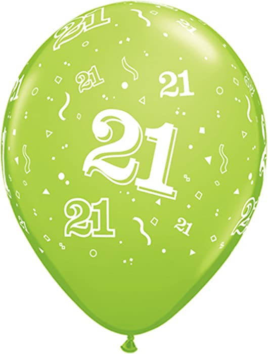 Qualatex 17889 Round Print Age 21 Retail Pack Latex Balloons Amazoncouk Toys Games