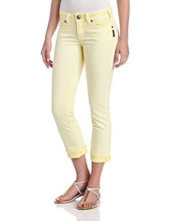 Silver Jeans Women's Suki Colored Denim Capri, Yellow, 32 at ...