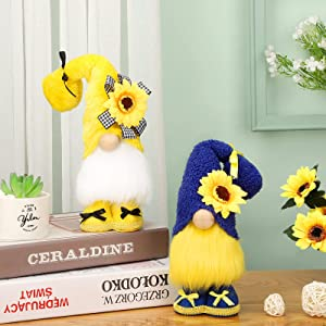 2 Pieces Sunflower Plush Gnome Yellow and Blue Plush Gnome Summer Sunflower Scandinavian Tomte Sunflower Elf Home Decor for Farmhouse Tiered Tray Home Table Window Decor, 13.4 Inch