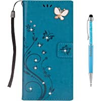 iPhone 8 Plus Case,iPhone 7 Plus Case,Grandoin [3D Handmade Bling Butterfly Series][Lifetime Warranty] Floral Bling Sparkly Diamonds Gems Butterfly Pattern Design Premium PU Leather Magnetic Flip Cover with Card Slots Holders & Hand Wrist Strap [Soft Silicone Inner] Bookstyle Wallet Case For Apple iPhone 7 Plus / iPhone 8 Plus (Blue)