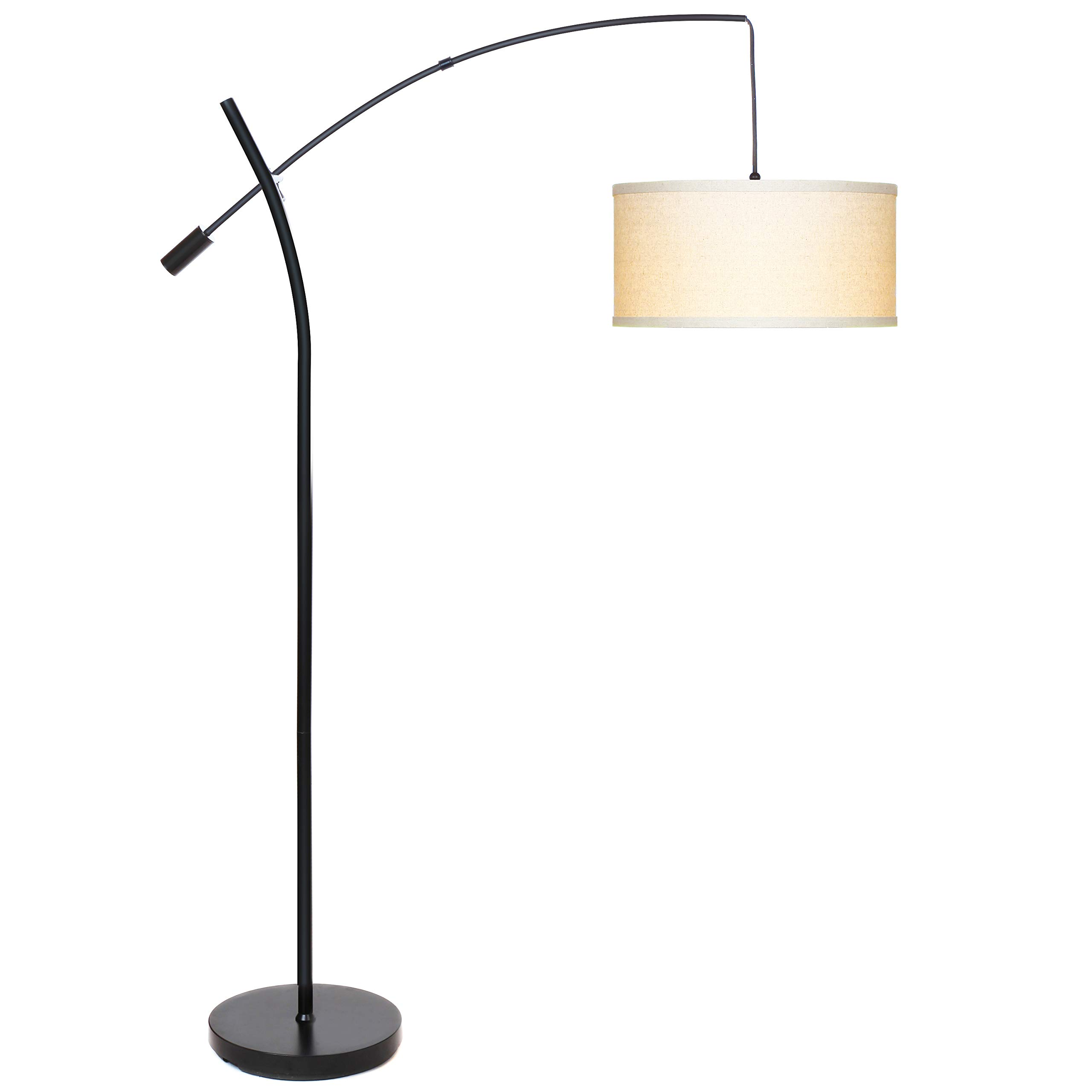 Brightech Grayson LED Arcing Floor Lamp- Tall Pole Standing Light for Living Room Den Office Bedroom – Adjustable Arm with Hanging Pendant Shade - Black