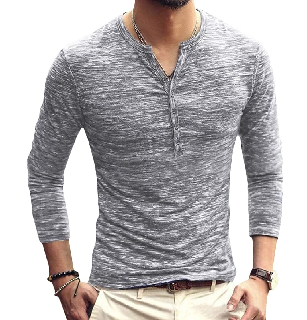 Lutratocro Mens Button Pullover Slim Fit Crewneck Long Sleeve T-Shirt Top