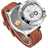 CkeyiN; Unisex wristwatch Quartz Watch with USB, Rechargeable Windproof Flameless Cigarette Lighter-white
