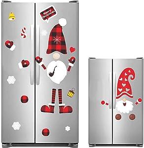 Halatool 40pcs Christmas Swedish Tomte Gnome Refrigerator Stickers- PVC Waterproof Removable DIY Scandinavian Xmas Window Clings for Fridge, Metal Door, Cabinets, Windows Holiday Home Decor