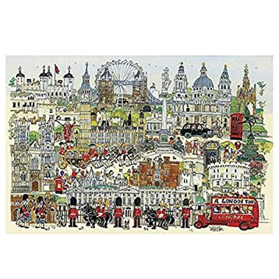 Queenie 1000 Piece Stained Freehand London Town Soldier Art Oil Painting Wooden Jigsaw Puzzles for Adults Family Game Gifts, Finish Size 30x20 inches: Toys & Games